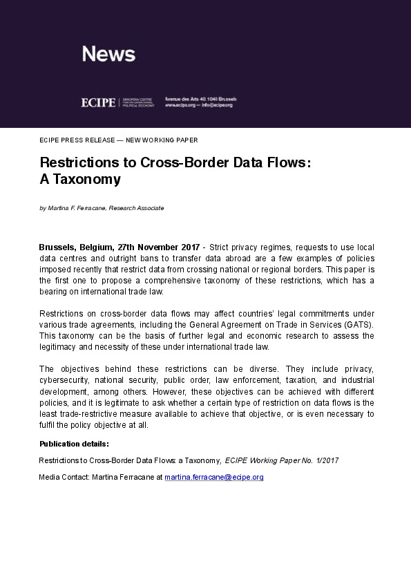 Restrictions To Cross Border Data Flows A Taxonomy Eu Agenda