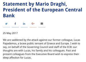 Statement by Mario Draghi regarding attack on Lucas Papademos https://t.co/3dLOCf2mUf https://t.co/x4hg8wl16t
