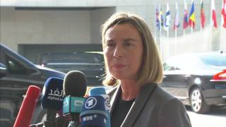 Arrival and doorsteps Mogherini: Foreign Affairs Council and Agriculture & Fisheries Council