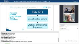 EUA webinar: Approaches to cooperation and exchange in learning and teaching on a European level