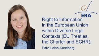 Right to Information in the European Union within Diverse Legal Contexts