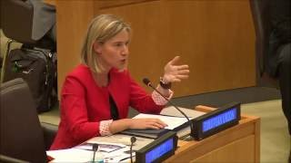 Federica Mogherini speaking at the Italian and Dutch side event on migrations, UNGA